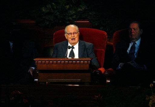 FILE- In this Oct. 2, 2011, file photo, Mormon Elder Robert D. Hales speaks at the 181st Semiannual General Conference in Salt Lake City. Senior Mormon leader Robert D. Hales has died at the age of 85. Church spokesman Eric Hawkins said in a statement that Hales died Sunday, Oct. 1, 2017, in a Salt Lake City hospital surrounded by his wife and family. (Scott Sommerdorf/The Salt Lake Tribune via AP, File)