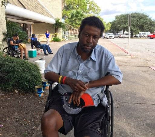 "In this Sept. 26, 2017 photo, one month after Harvey made landfall in Texas and damaged thousands of homes, Houston resident Troy Randle is one of the more than 1,300 individuals in Texas who remain living in shelters. Randle, who is disabled and had been living in a Houston hotel for the last two years until it was flooded, says he feels like he hasn't moved forward since Harvey inundated Houston and is unsure what the future holds for him. When asked what his number one need is, Randle said, ""I need housing."" Houston Mayor Sylvester Turner says one of his main priorities post-Harvey is meeting the housing needs of people who lost their homes and places to live, especially senior citizens, disabled individuals and residents from low income communities."