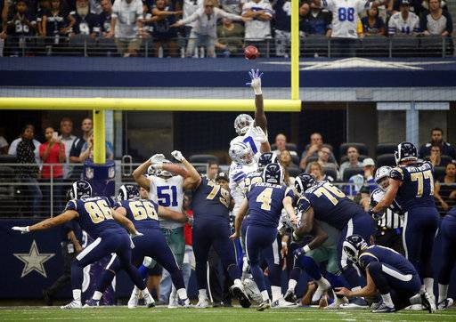 Los Angeles Rams place kicker Greg Zuerlein (4) kicks a field goal against the Dallas Cowboys in the second half of an NFL football game, Sunday, Oct. 1, 2017, in Arlington, Texas.