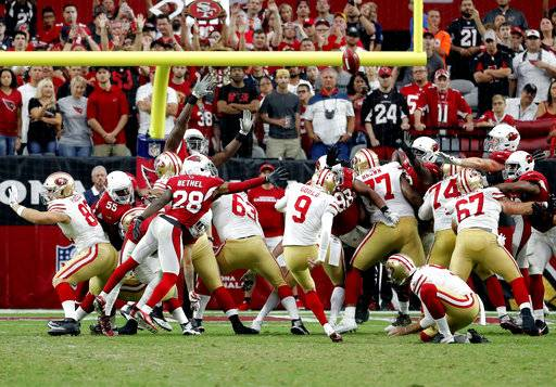 San Francisco 49ers kicker Robbie Gould (9) kicks a field goal during overtime of an NFL football game against the Arizona Cardinals, Sunday, Oct. 1, 2017, in Glendale, Ariz.
