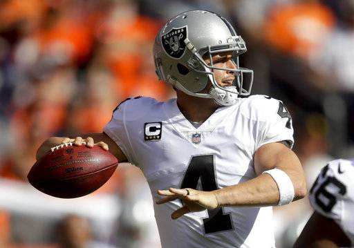 Oakland Raiders quarterback Derek Carr passes against the Denver Broncos during the first half of an NFL football game Sunday, Oct. 1, 2017, in Denver.