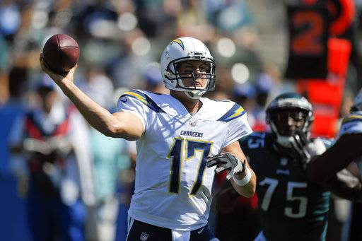 Los Angeles Chargers quarterback Philip Rivers throws a pass during the first half of an NFL football game against the Philadelphia Eagles Sunday, Oct. 1, 2017, in Carson, Calif.