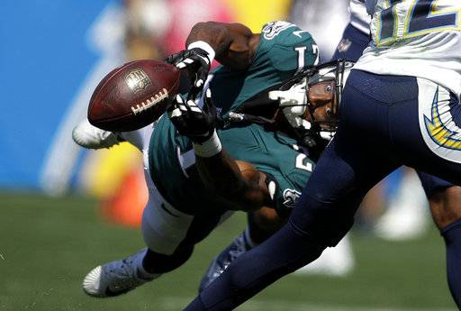 Philadelphia Eagles defensive back Patrick Robinson can't make the interception during the first half of an NFL football game against the Los Angeles Chargers Sunday, Oct. 1, 2017, in Carson, Calif.