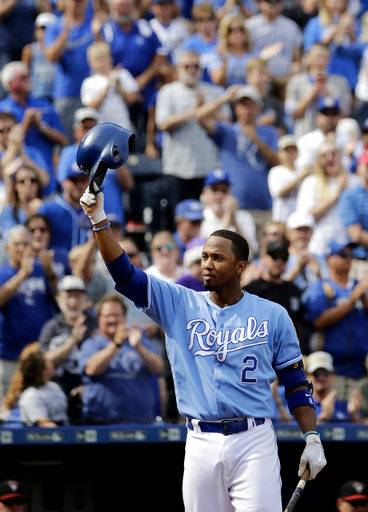 Kansas City Royals' Alcides Escobar acknowledges the crowd before batting during the second inning of a baseball game against the Arizona Diamondbacks, Sunday, Oct. 1, 2017, in Kansas City, Mo.