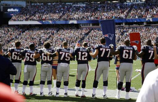 Members of the New England Patriots stand along the sideline during the national anthem before an NFL football game against the Carolina Panthers, Sunday, Oct. 1, 2017, in Foxborough, Mass.