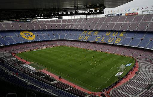 Spanish La Liga soccer match between Barcelona and Las Palmas is played at the Camp Nou stadium in Barcelona, Spain, Sunday, Oct. 1, 2017. Barcelona's Spanish league game against Las Palmas is played without fans amid the controversial referendum on Catalonia's independence.