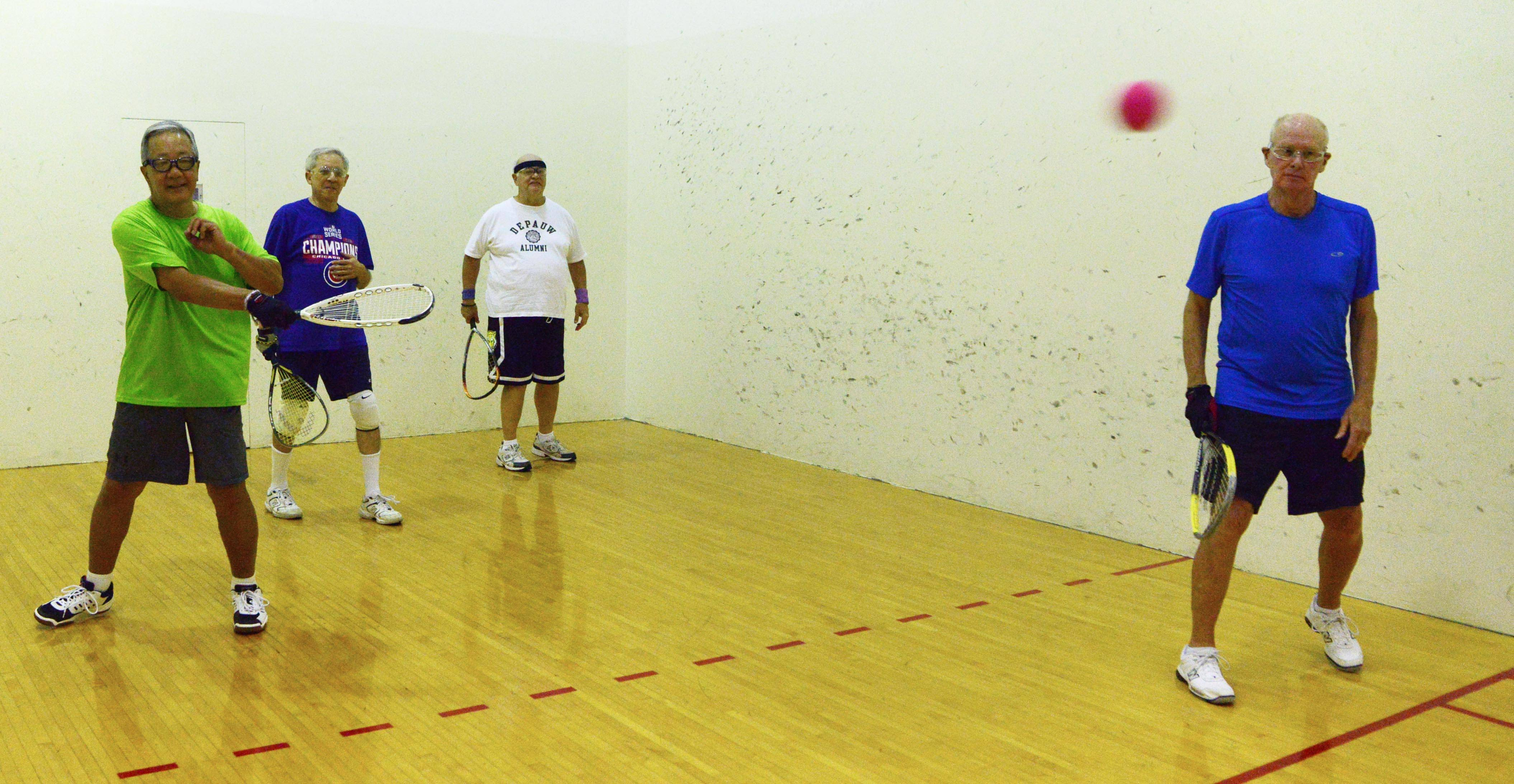From left, George Shibayana of Arlington Heights, Rich Tepperman of Schaumburg, Len Hochmuth of Mount Prospect and Steve Pierce of South Barrington play racquetball together once a week at the Forest View Racquet and Fitness Club in Arlington Heights. They are part of a group that has been playing together for 40 years.