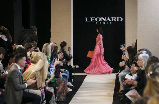Models wear creations for Leonard Spring-Summer 2018 ready-to-wear fashion collection presented Monday, Oct. 2, 2017 in Paris.