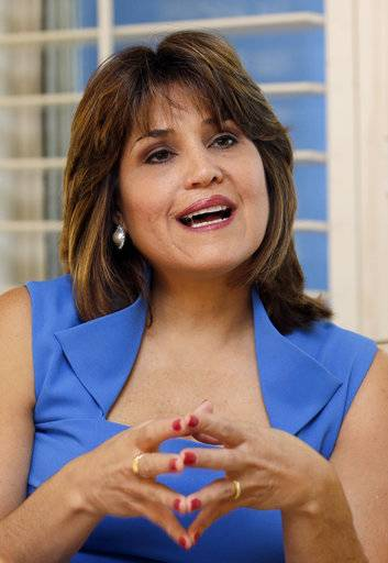 "FILE- In this Oct. 15, 2014 file photo, Democrat Annette Taddeo, talks during an interview in Pinecrest, Fla. Taddeo defeated state Rep. Jose Felix ""Pepi"" Diaz, in a special election for a state senate seat."
