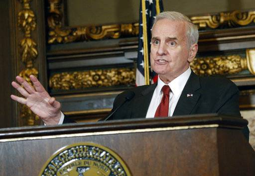 FILE - In this May 11, 2017 file photo, Minnesota Gov. Mark Dayton speaks during a news conference in St. Paul, Minn. The U.S. Supreme Court ruled Monday, Oct. 2, 2017, that it won't hear a challenge to Minnesota's sex offender civil commitment system, which allows people who have been deemed sexually dangerous to be committed to a treatment facility for an indefinite period of time. Democratic Gov. Dayton and officials with the Department of Human Services, which oversees the program, did not immediately return requests for comment.