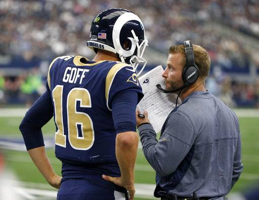 Los Angeles Rams quarterback Jared Goff (16) walks with head coach Sean McVay on the sideline in the second half of an NFL football game against the Dallas Cowboys on Sunday, Oct. 1, 2017, in Arlington, Texas.