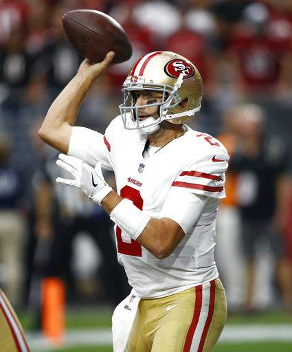 San Francisco 49ers quarterback Brian Hoyer (2) throws against the Arizona Cardinals during the second half of an NFL football game, Sunday, Oct. 1, 2017, in Glendale, Ariz.