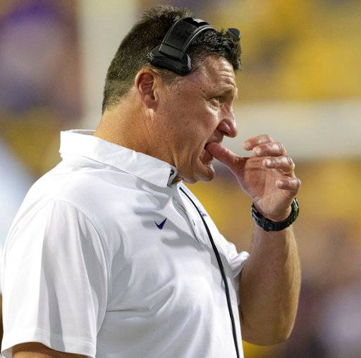 LSU head coach Ed Orgeron reacts as his team is intercepted by Troy in the second half of an NCAA college football game in Baton Rouge, La., Saturday, Sept. 30, 2017.