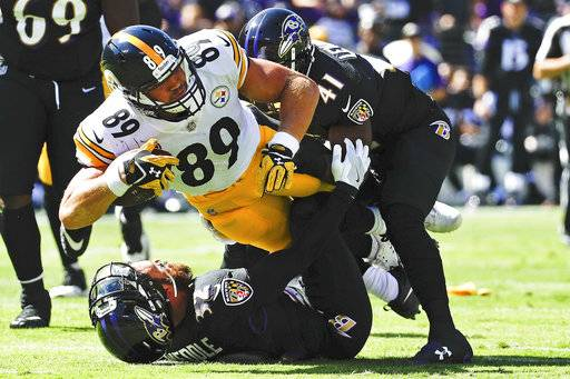Pittsburgh Steelers tight end Vance McDonald (89) is stopped by Baltimore Ravens free safety Eric Weddle (32) and cornerback Anthony Levine (41) during the first half of an NFL football game in Baltimore, Sunday, Oct. 1, 2017.