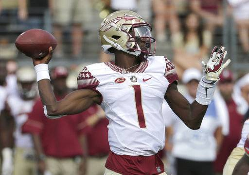 Florida State's James Blackman (1) looks to pass against Wake Forest in the first half of an NCAA college football game in Winston-Salem, N.C., Saturday, Sept. 30, 2017.