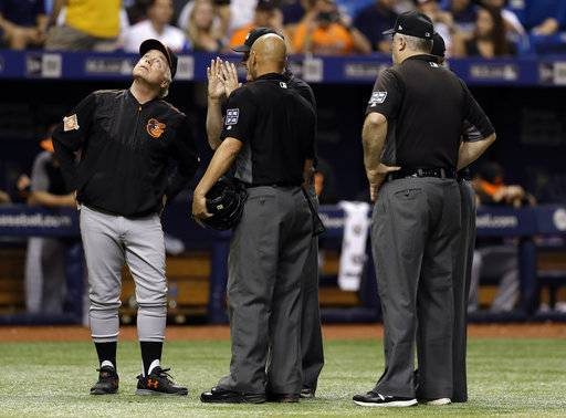 Baltimore Orioles manager Buck Showalter, left, looks up at the catwalk with the umpiring crew, including home plate umpire Vic Carapazza, center, and Bill Welke, right, after Tampa Bay Rays' Cesar Puello pop-up hit a ring over home plate and landed fair during the fourth inning of a baseball game Friday, Sept. 29, 2017, in St. Petersburg, Fla.