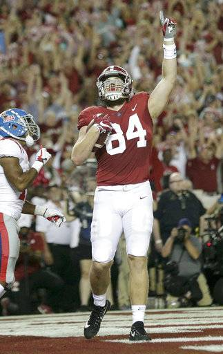 Alabama tight end Hale Hentges celebrates after scoring a touchdown during the first half of an NCAA college football game against Mississippi, Saturday, Sept. 30, 2017, in Tuscaloosa, Ala.
