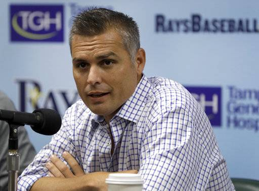 Tampa Bay Rays manager Kevin Cash speaks to the media during a season ending baseball news conference Monday, Oct. 2, 2017, in St. Petersburg, Fla. The Rays finished their season on Sunday, ending with an 80-82 record.