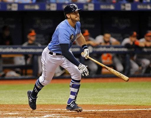 Tampa Bay Rays' Evan Longoria hits a RBI-double off Baltimore Orioles reliever Brad Brach during the eighth inning of a baseball game Sunday, Oct. 1, 2017, in St. Petersburg, Fla.
