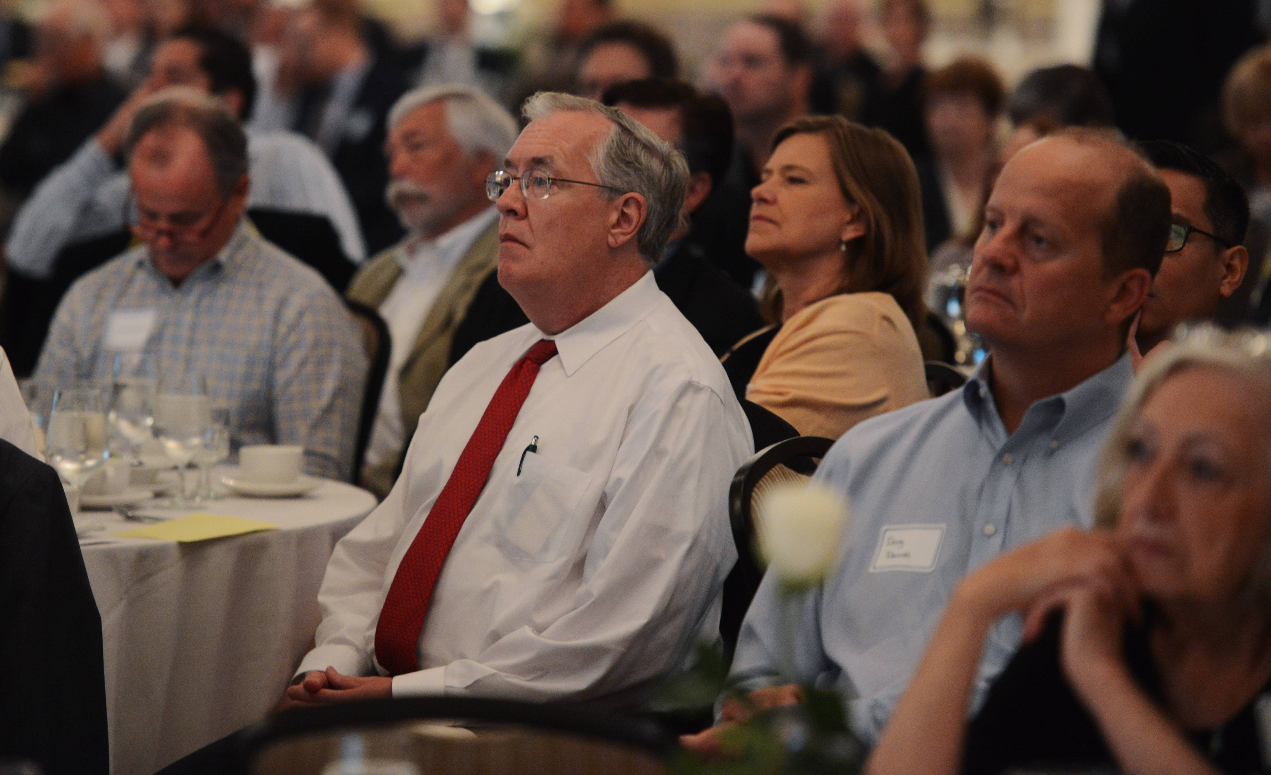 Guests listen to Robert Genetski speak at the 14th Annual Economic Breakfast, hosted by Cornerstone National Bank & Trust Company.