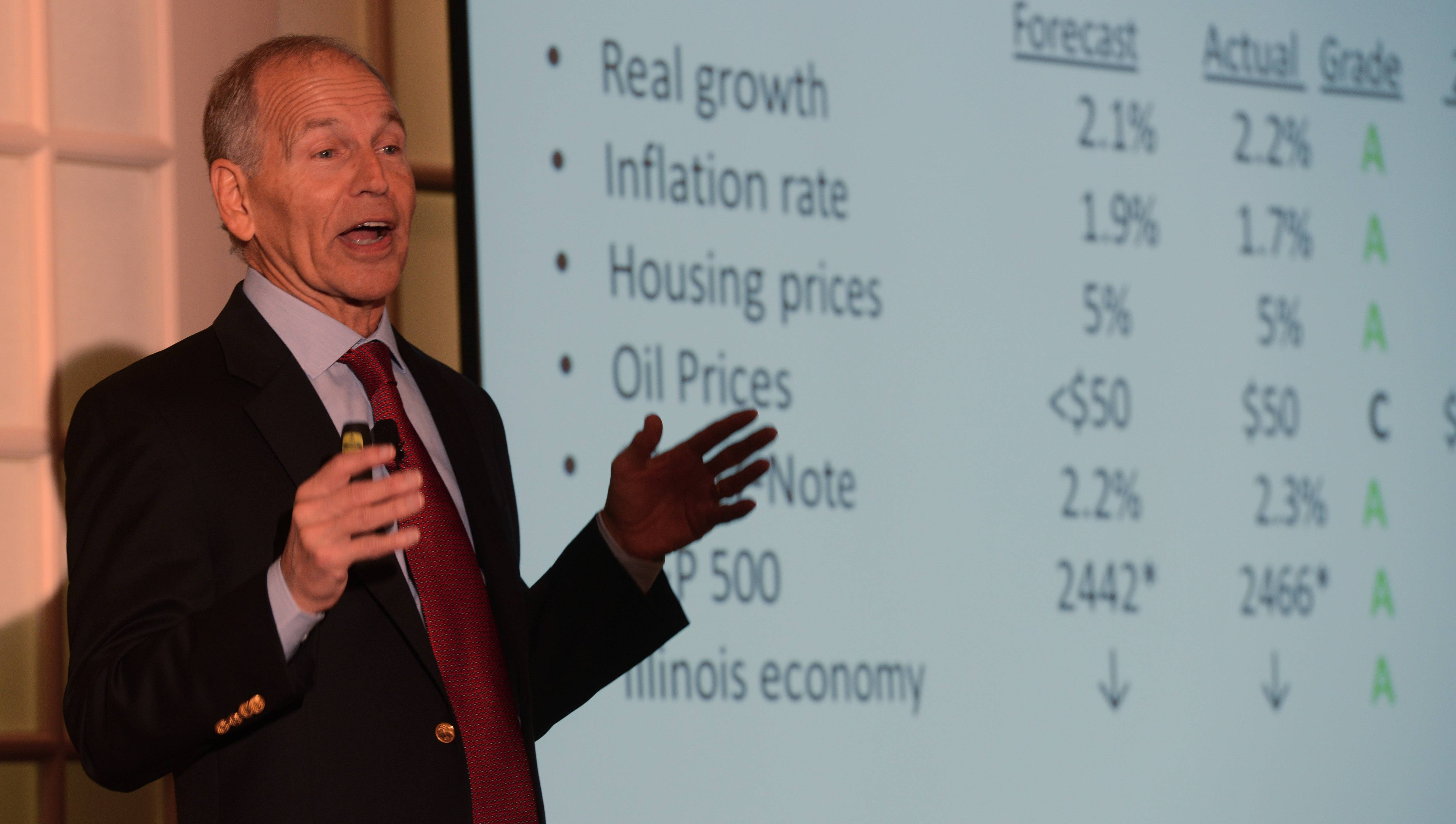 Robert Genetski speaks at the 14th Annual Economic Breakfast hosted by Cornerstone National Bank & Trust Company.