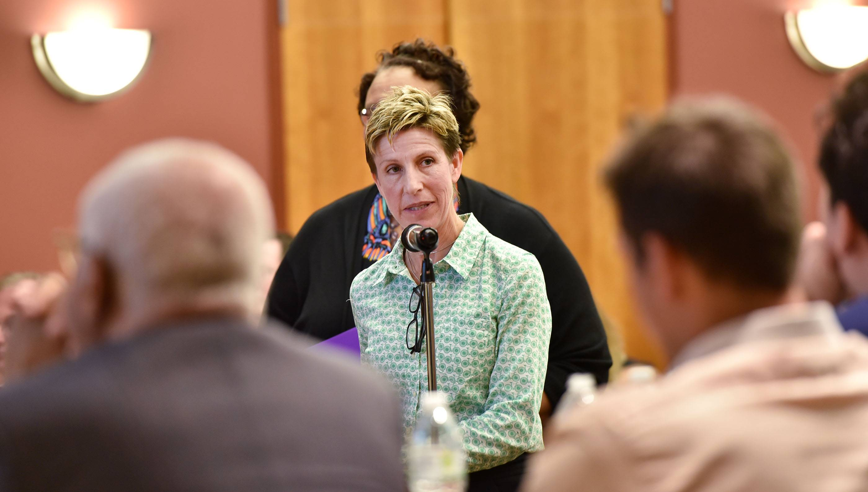 Kerry Kelley, president of the Elgin Charter School Initiative, speaks to the Illinois State Charter School Commission board Tuesday before the panel voted to approve the group's proposed Elgin charter school.