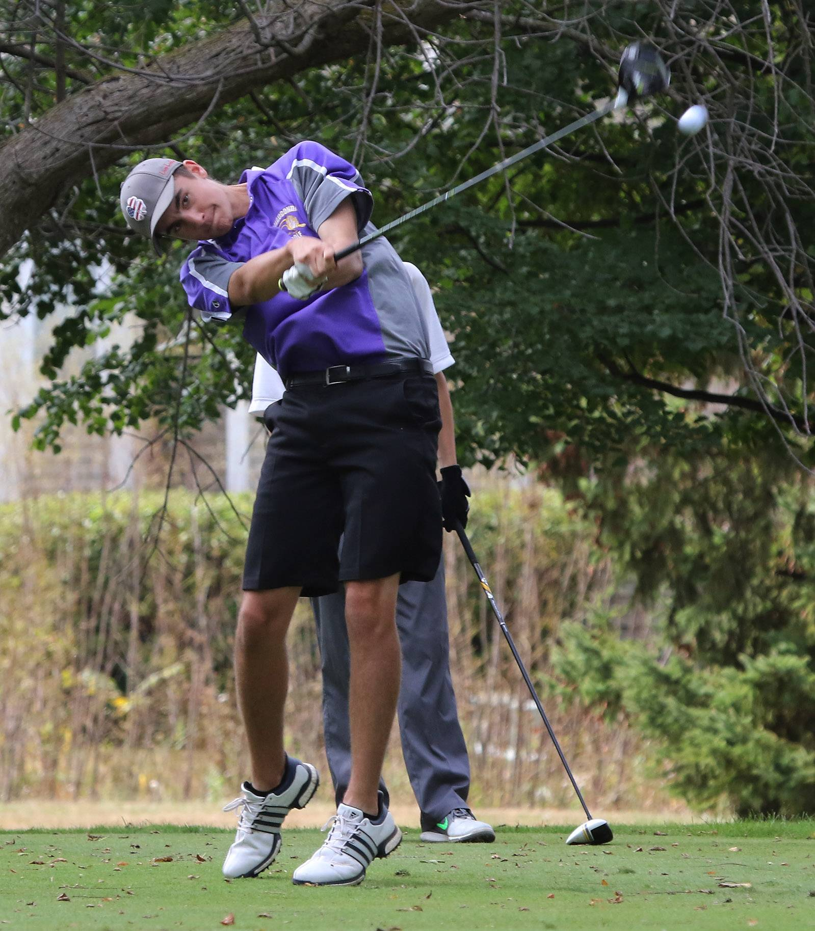 Wauconda's Matt Szmajda tees off on the 18th hole during the boys golf regional Tuesday at Midlane Golf Resort in Wadsworth.