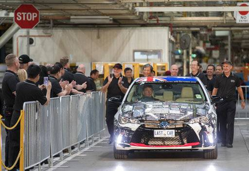 In this photo provided by Toyota Australia the last Toyota car produced in Australia leaves the line in Melbourne, Tuesday, Oct. 3, 2017. Toyota closed its manufacturing plant in Melbourne, ending 54 years of production by the Japanese firm in Australia, the first country outside of Japan where the company made cars. (Toyota Australia via AP)