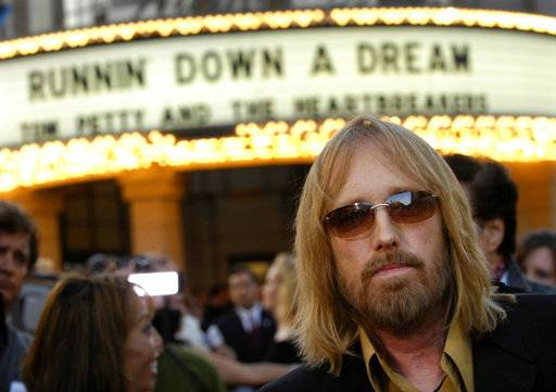 "FILE - In this Oct. 2, 2007 file photo, singer Tom Petty arrives at the world premiere of the documentary ""Runnin' Down a Dream: Tom Petty and the Heartbreakers"" in Burbank, Calif. Petty has died at age 66. Spokeswoman Carla Sacks says Petty died Monday night, Oct. 2, 2017, at UCLA Medical Center in Los Angeles after he suffered cardiac arrest."