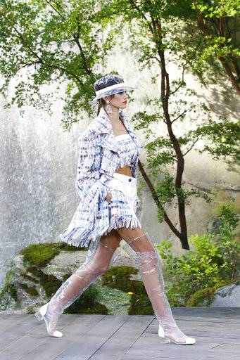 Model Kaia Gerber wears a creation for the Chanel Spring/Summer 2018 ready-to-wear fashion collection presented in Paris, Tuesday, Oct., 2017.