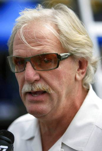 FILE - In this Friday, July 21, 2006, file photo, Robert Yates speaks to the media at Pocono Raceway in Long Pond, Pa. Yates, a longtime NASCAR owner and engine builder, has died, his son Doug Yates said on Twitter Monday, Oct. 2, 2017. He was 74.
