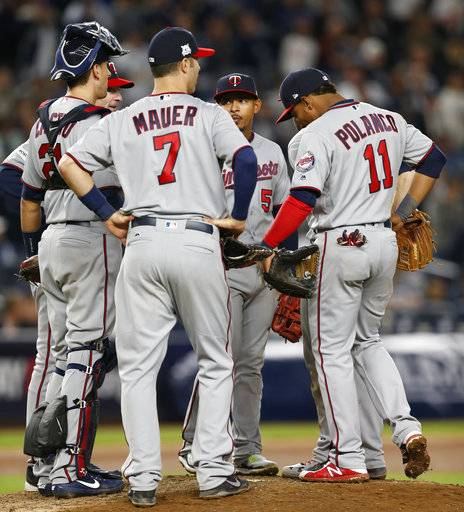 Minnesota Twins catcher Jason Castro, manager Paul Molitor, first baseman Joe Mauer (7), third baseman Eduardo Escobar (5) and shortstop Jorge Polanco (11) wait out a pitching change during the seventh inning of the American League wild-card playoff baseball game against the New York Yankees in New York, Tuesday, Oct. 3, 2017.