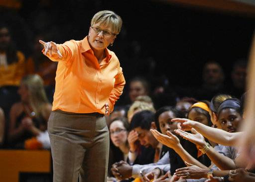 FILE - In this Dec. 4, 2016, file photo, Tennessee head coach Holly Warlick directs her players during an NCAA college basketball game against Baylor in Knoxville, Tenn. Tennessee opens preseason practice trying to bounce back from a disappointing year and understanding it will rely heavily on a heralded freshman class following the unexpected offsesason departures of Diamond DeShields, Te'a Cooper and Alexa Middleton.