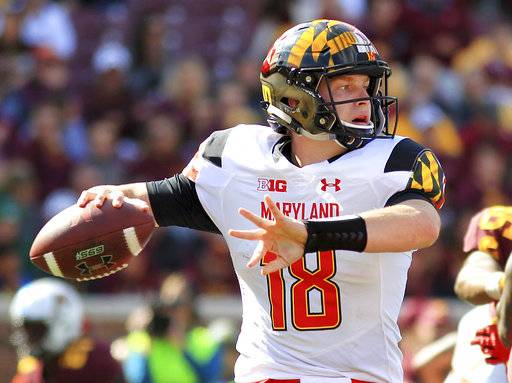 FILE - In this Saturday, Sept. 30, 2017, file photo, Maryland quarterback Max Bortenschlager (18) throws against Minnesota during the first quarter of an NCAA college football game in Minneapolis. Bortenschlager began the season as Maryland's third-string quarterback. The sophomore played well in a win over Minnesota last week, but he'll have to be even better Saturday against No. 10 Ohio State on the road.