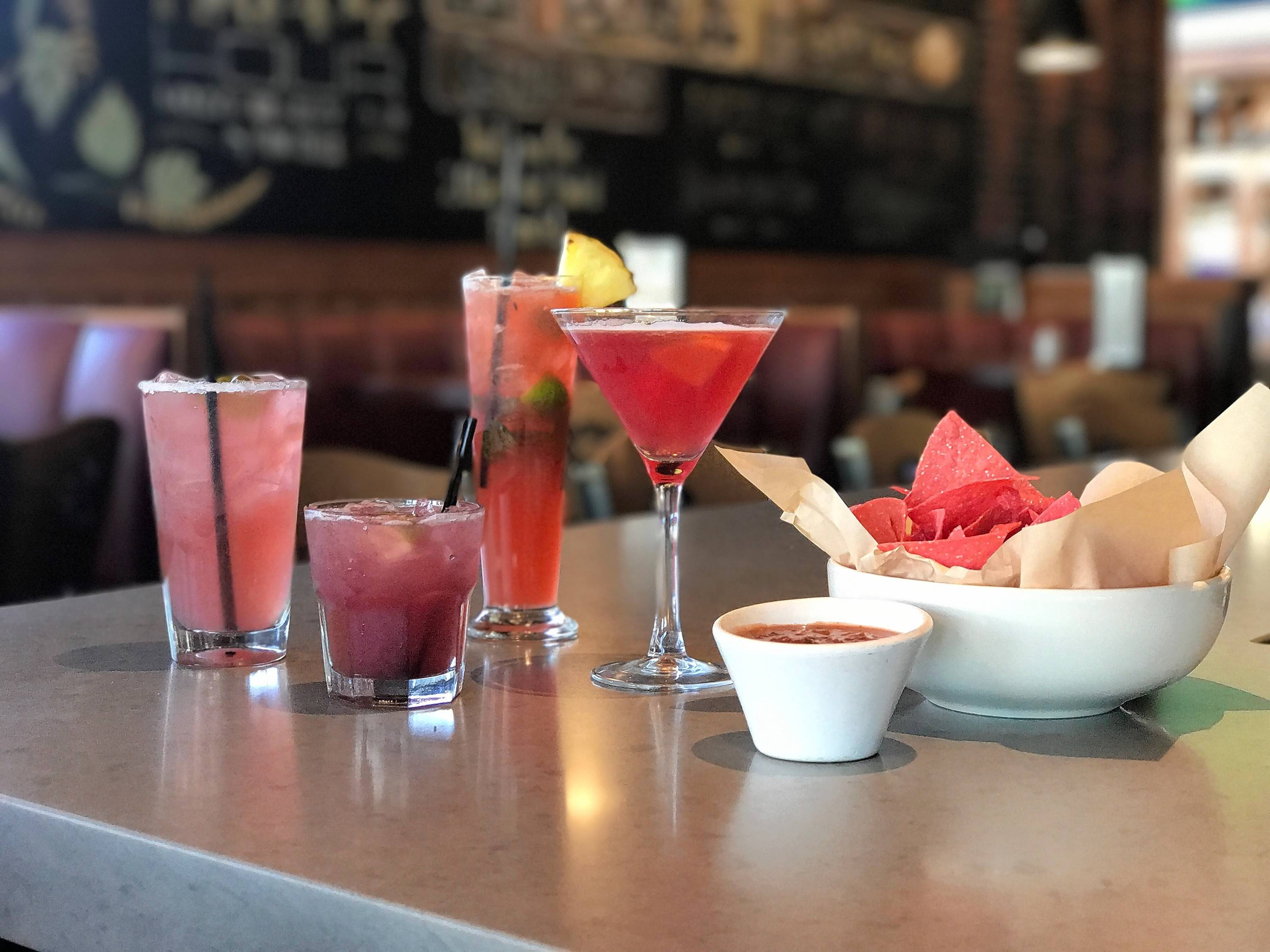 During October, one dollar from the sales of The RAM's el Jimador Black Opal Margarita, left, the Absolut Lime Pink Mule, the Bacardi Pink Pineapple Mojito, the Pink Rose Martini and the pink chips and salsa appetizer will go to support local American Cancer Society programs.