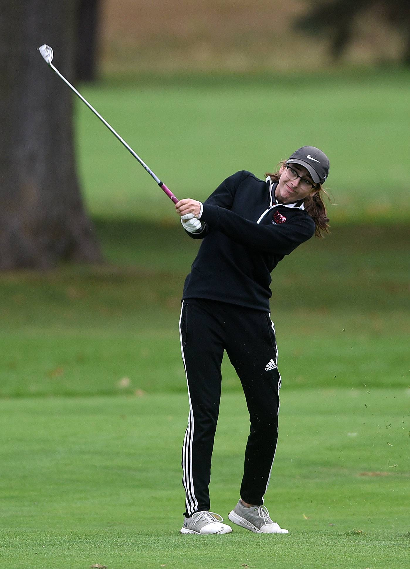 Huntley's Katie Weidner hits from the first fairway during the Burlington Central girls golf regional at Sycamore Golf Club Wednesday.
