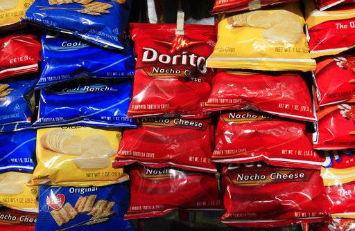 FILE - In this Thursday, April 29, 2010, file photo, bags of Doritos corn chips are displayed at a kiosk, in New York. Doritos are made by Frito-Lay, a division of PepsiCo, Inc. PepsiCo reports earnings, Wednesday, Oct. 4, 2017.