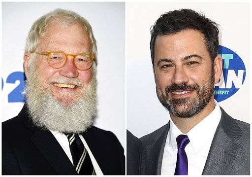 "This combination photo shows David Letterman in New York on May 30, 2017, left, and late night talk show host Jimmy Kimmel in Los Angeles on  April 21, 2016.  Letterman will be among the guests when ""Jimmy Kimmel Live� returns to Brooklyn, New York. ABC says other guests slated for the week of October 16 include Billy Joel, Tracy Morgan, Amy Schumer and Howard Stern. Paul Shaffer, longtime bandleader on CBS' bygone ""Late Show with David Letterman,� will sit in with Kimmel's house band, Cleto and The Cletones, each night."