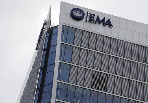 FILE - This Friday, July 28, 2017 file photo, shows the headquarters building of the European Medicines Agency, EMA in London. A new study published online Thursday Oct. 5, 2017, in the journal BMJ, finds that only about half of the cancer drug approvals by the European Medicines Agency in the last few years helped patients live longer or improved their lives.