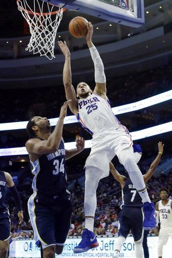 Philadelphia 76ers' Ben Simmons, right, goes up for a shot against Memphis Grizzlies' Brandan Wright during the second half of a preseason NBA basketball game, Wednesday, Oct. 4, 2017, in Philadelphia.
