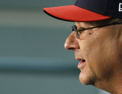 Cleveland Indians manager Terry Francona answers questions during a team workout, Wednesday, Oct. 4, 2017, in Cleveland. The Indians will play the New York Yankees in Game 1 of the ALDS on Thursday.