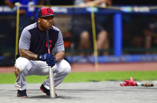 Cleveland Indians' Jose Ramirez waits to bat during a team workout, Wednesday, Oct. 4, 2017, in Cleveland. The Indians will play the New York Yankees in Game 1 of the ALDS on Thursday.