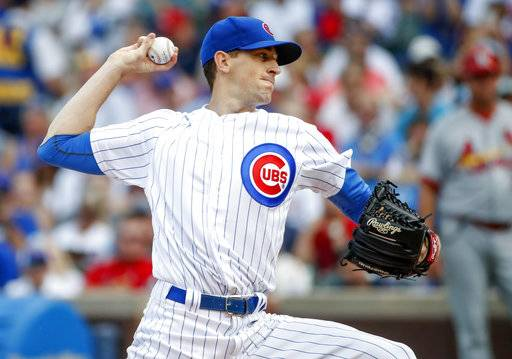 FILE - In this Sept. 16, 2017, file photo, Chicago Cubs starting pitcher Kyle Hendricks delivers against the St. Louis Cardinals during the first inning of a baseball game in Chicago. Cubs manager Joe Maddon says the 27-year-old right-hander will start Game 1 of the NL Division Series against Washington on Friday.