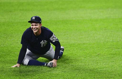 New York Yankees starting pitcher Sonny Gray stretches during a team workout, Wednesday, Oct. 4, 2017, in Cleveland. The Yankees will play the Cleveland Indians in Game 1 of the ALDS on Thursday.