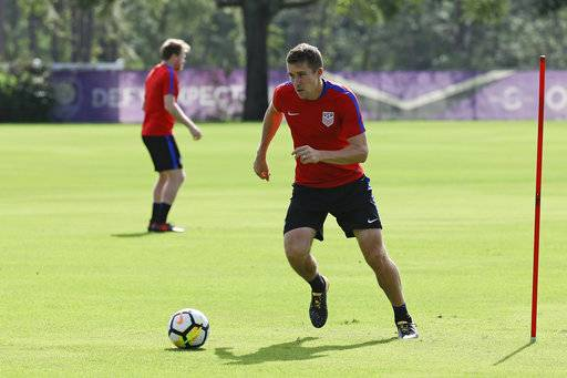 United States defender Matt Besler works on a drill during a soccer training session, Monday, Oct. 2, 2017, in Sanford, Fla. The United States hosts Panama in a World Cup qualifying match on Friday, Oct. 6.