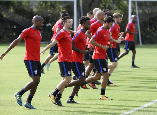 United States soccer players loosen up during a soccer training session, Monday, Oct. 2, 2017, in Sanford, Fla. The United States hosts Panama in a World Cup qualifying match on Friday, Oct. 6.