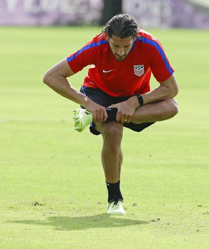 United States defender Omar Gonzalez stretches during a soccer training session, Monday, Oct. 2, 2017, in Sanford, Fla. The United States hosts Panama in a World Cup qualifying match on Friday, Oct. 6.