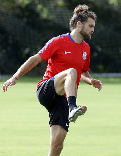 United States midfielder Graham Zusi loosens up during a soccer training session, Monday, Oct. 2, 2017, in Sanford, Fla. The United States hosts Panama in a World Cup qualifying match on Friday, Oct. 6.
