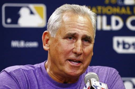 Colorado Rockies manager Bud Black answers a question during a news conference Tuesday, Oct. 3, 2017, at Chase Field in Phoenix as the team prepared for Wednesday's National League wild-card playoff baseball game against the Arizona Diamondbacks.