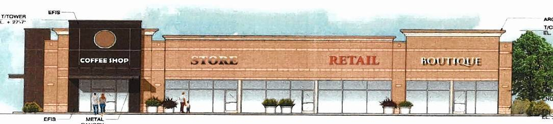 This is a rendering of a four-tenant commercial building that would include a drive-through and outdoor seating for a coffee shop just south of the Mobil gas station at the southwest corner of Route 59 and Stearns Road in Bartlett.